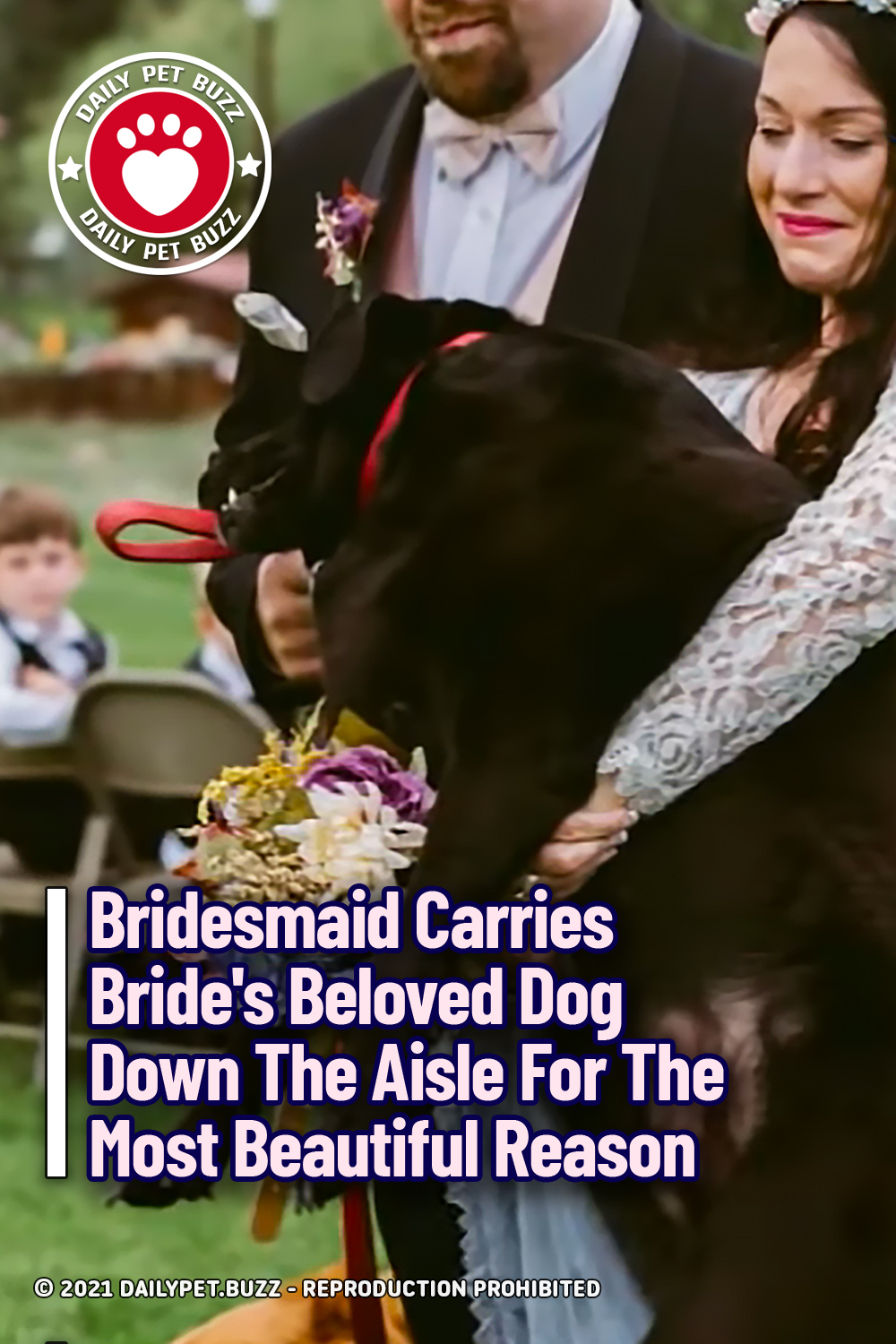 Bridesmaid Carries Bride\'s Beloved Dog Down The Aisle For The Most Beautiful Reason
