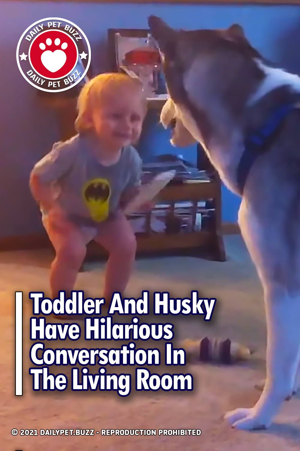 Toddler And Husky Have Hilarious Conversation In The Living Room