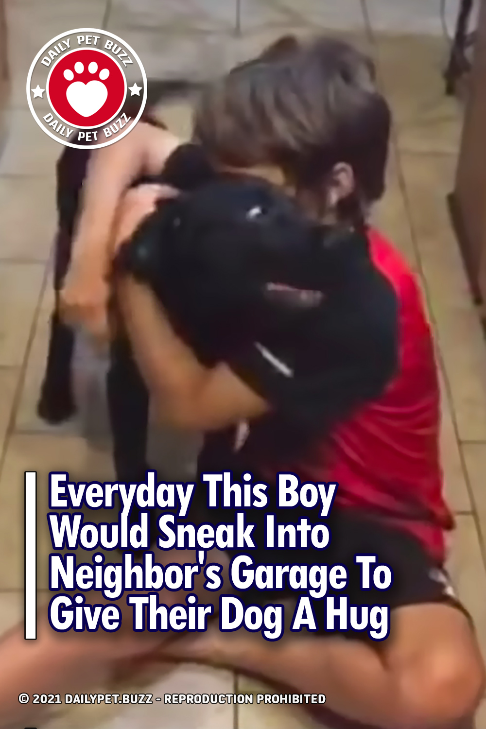 Everyday This Boy Would Sneak Into Neighbor\'s Garage To Give Their Dog A Hug
