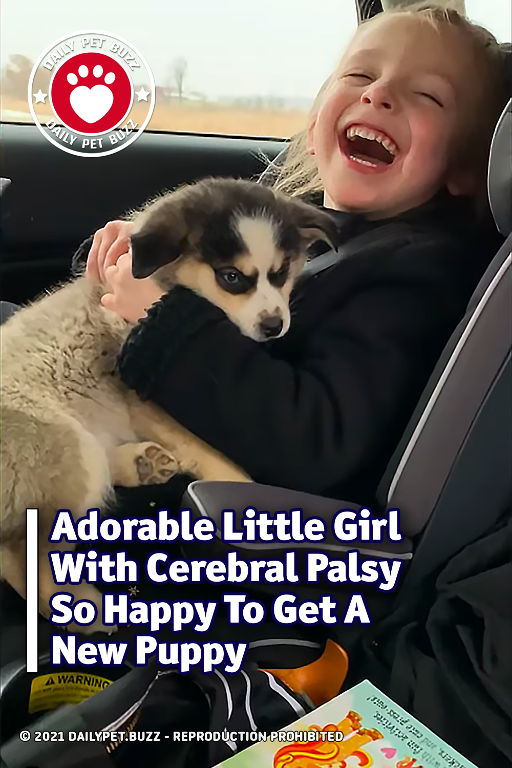 Adorable Little Girl With Cerebral Palsy So Happy To Get A New Puppy