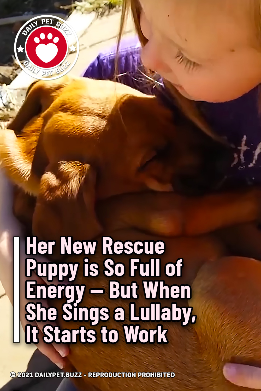 Her New Rescue Puppy is So Full of Energy -- But When She Sings a Lullaby, It Starts to Work