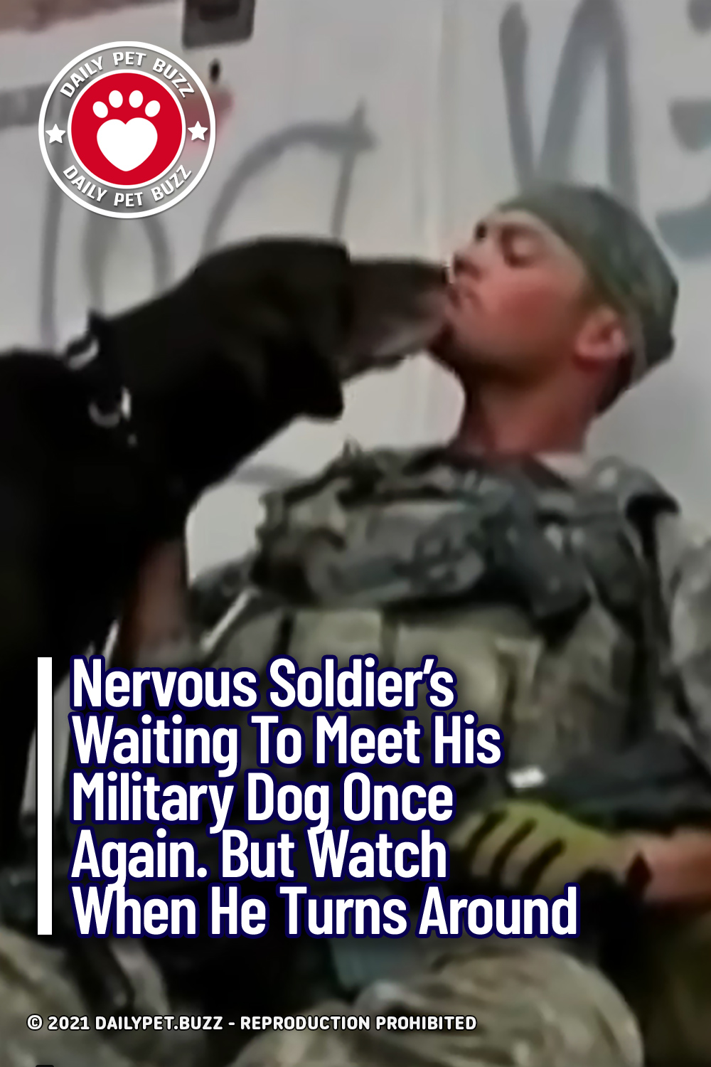 Nervous Soldier\'s Waiting To Meet His Military Dog Once Again. But Watch When He Turns Around