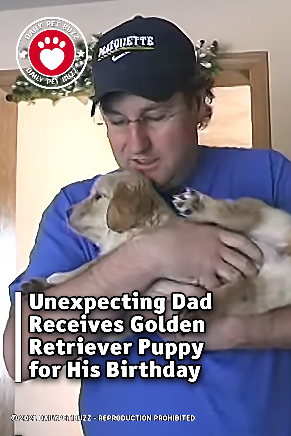 Unexpecting Dad Receives Golden Retriever Puppy for His Birthday