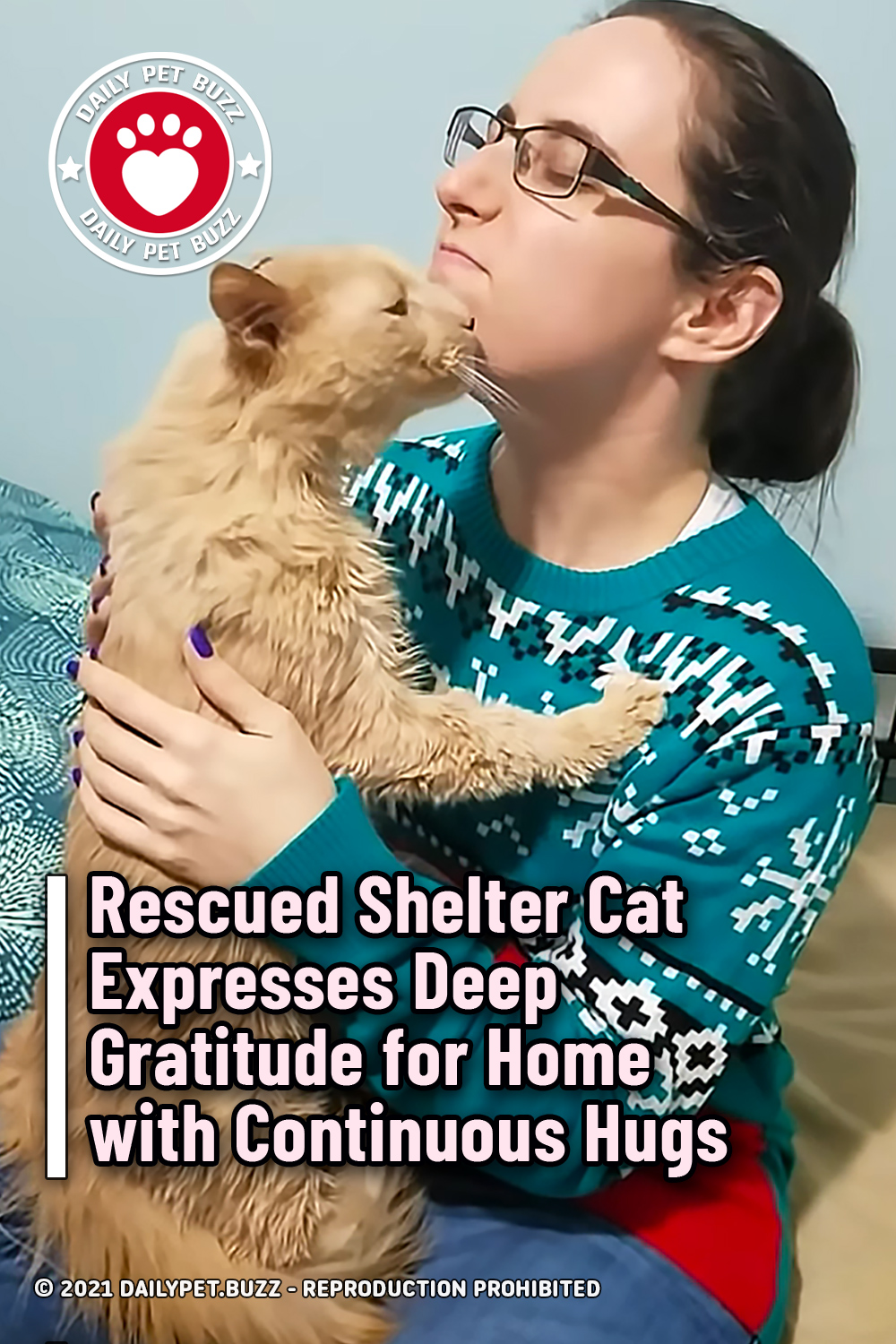 Rescued Shelter Cat Expresses Deep Gratitude for Home with Continuous Hugs