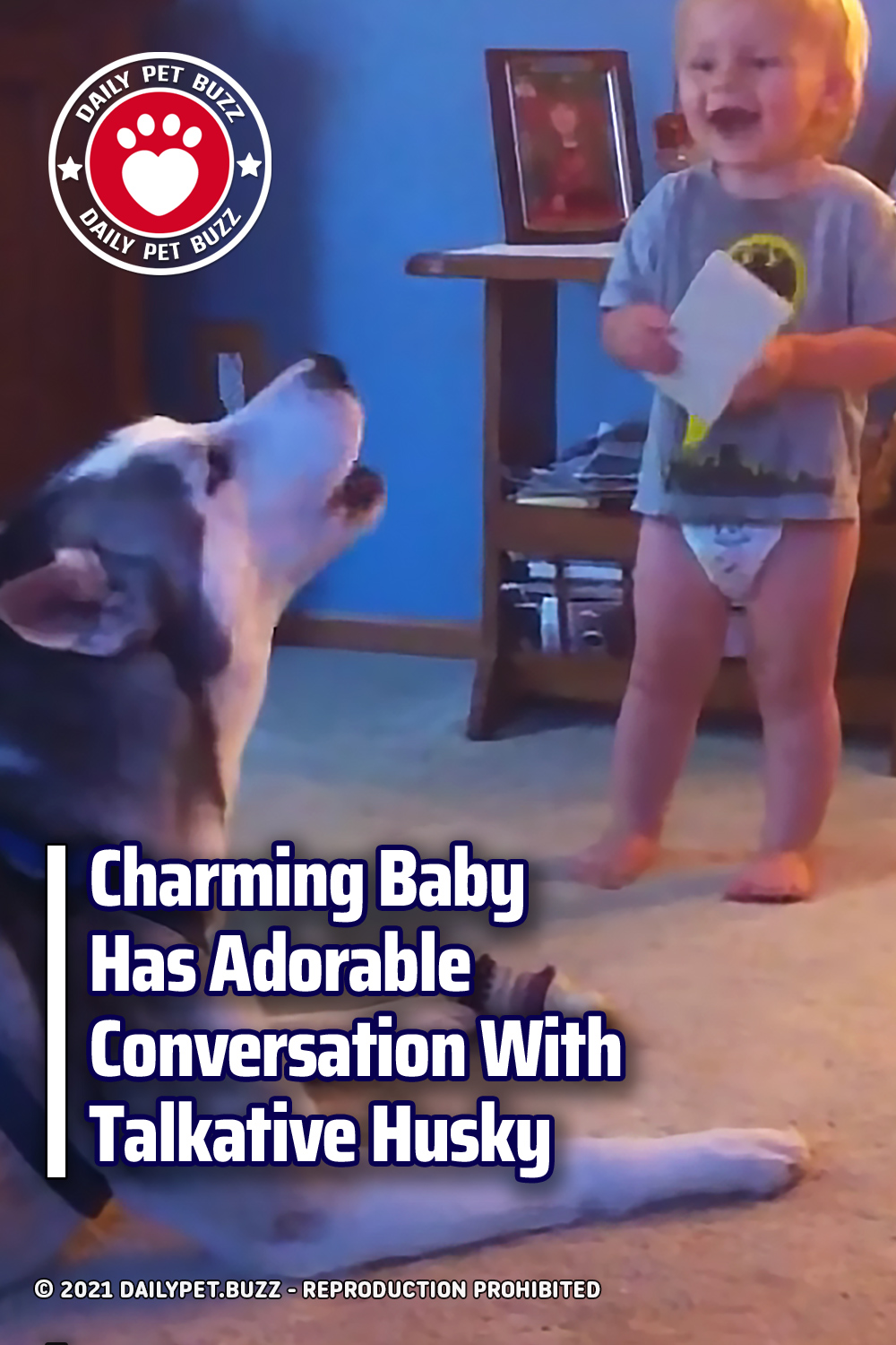 Charming Baby Has Adorable Conversation With Talkative Husky