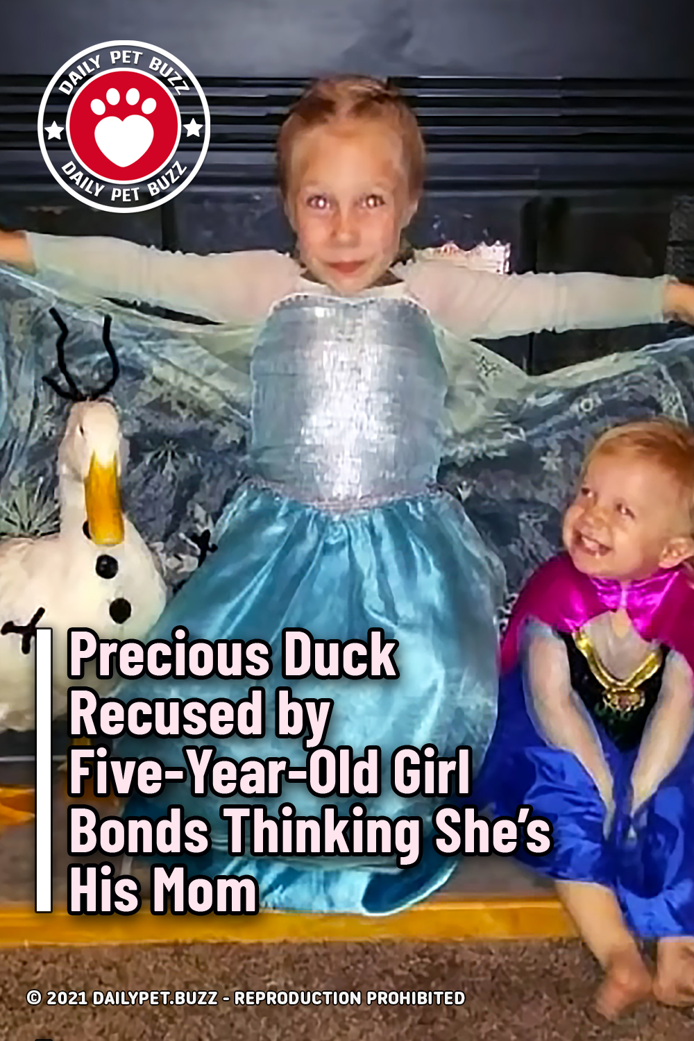 Precious Duck Rescued  by Five-Year-Old Girl Bonds Thinking She's His Mom