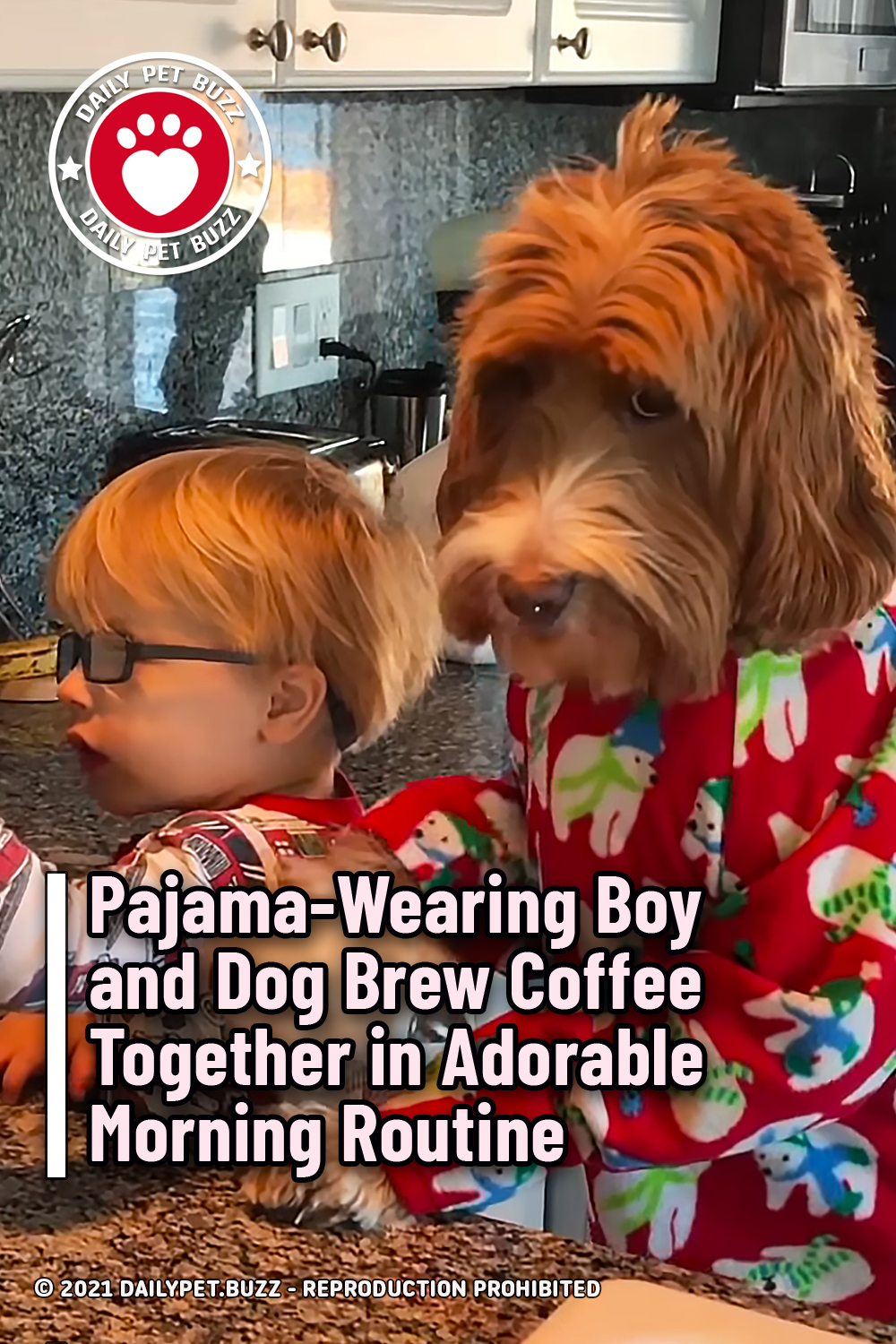 Pajama-Wearing Boy and Dog Brew Coffee Together in Adorable Morning Routine