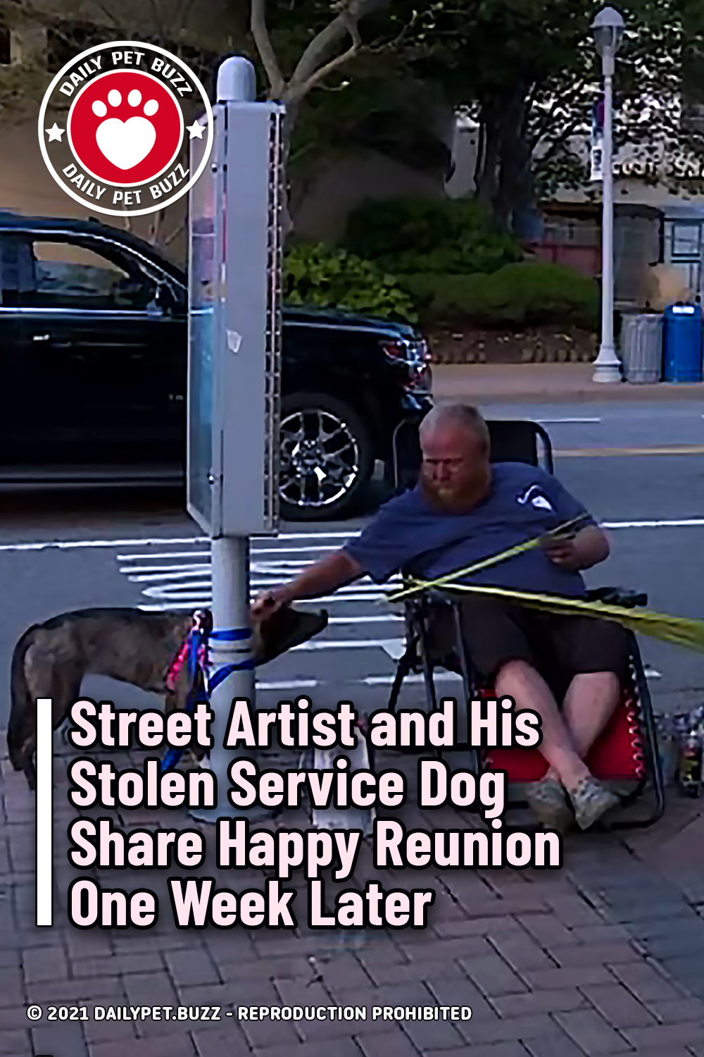 Street Artist and His Stolen Service Dog Share Happy Reunion One Week Later