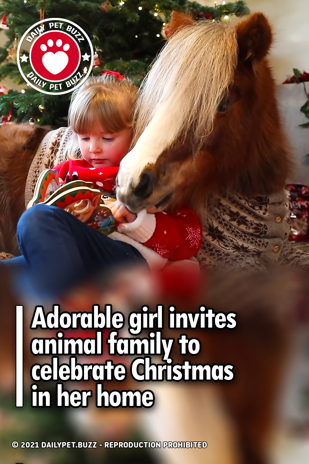 Adorable girl invites animal family to celebrate Christmas in her home