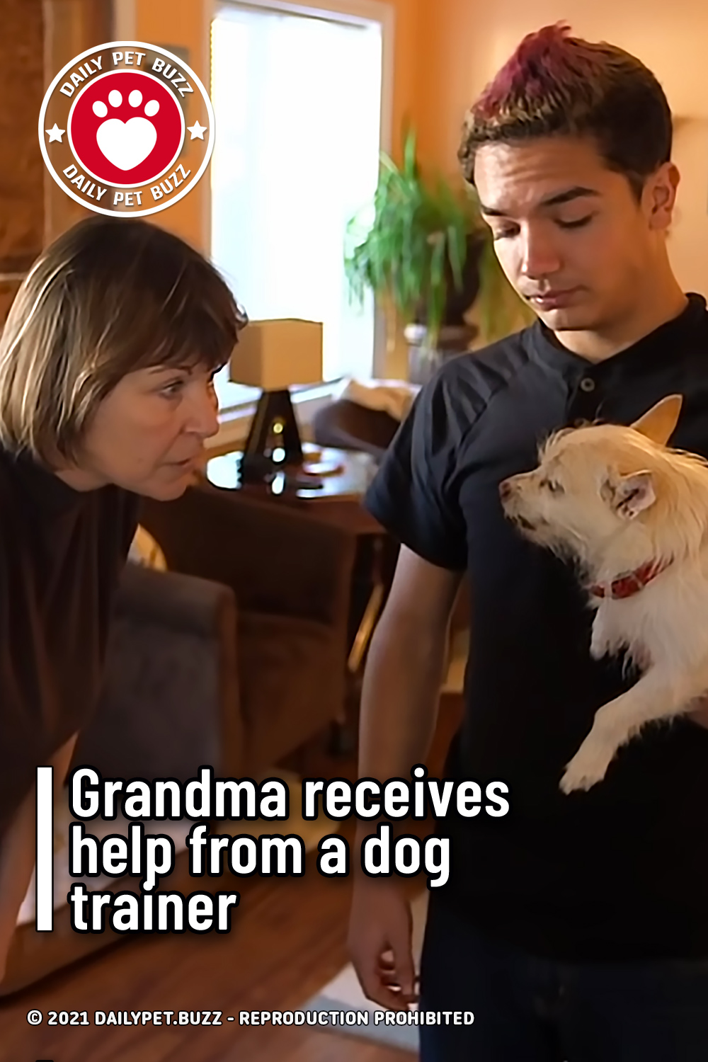 Grandma receives help from a dog trainer
