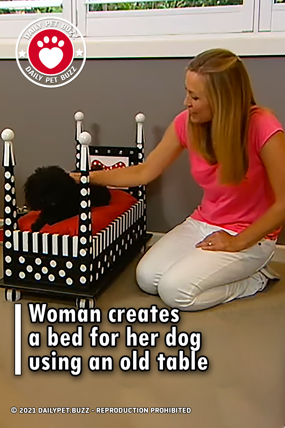Woman creates a bed for her dog using an old table