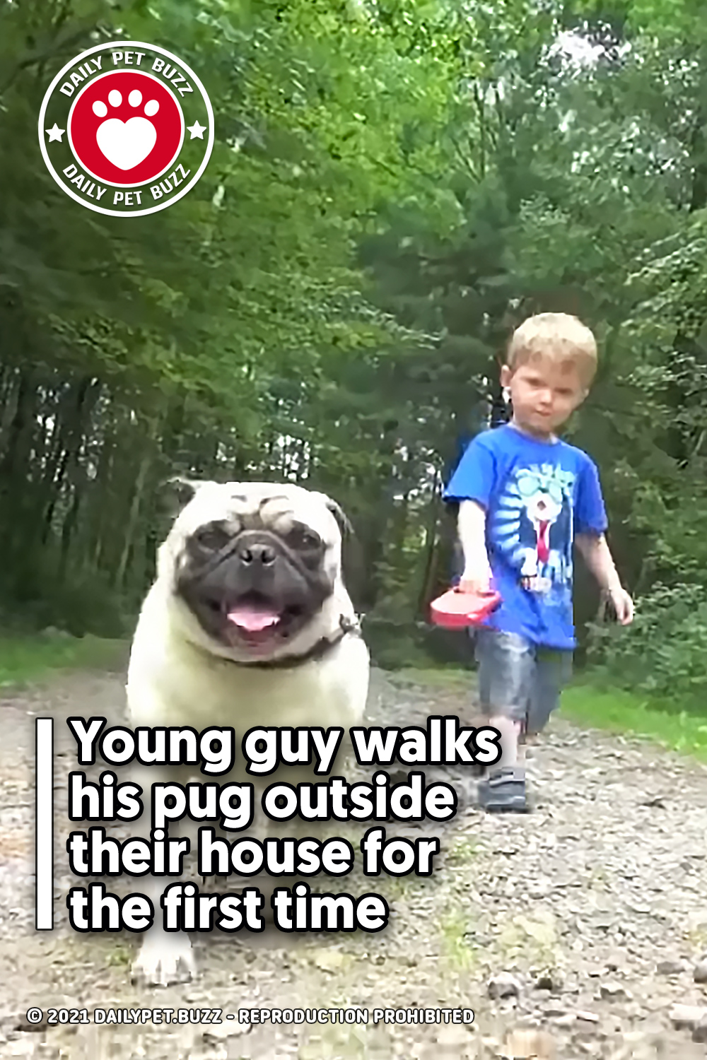 Young guy walks his pug outside their house for the first time