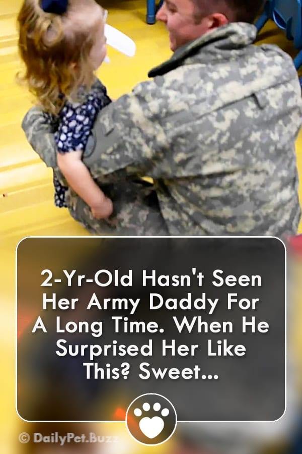 2-Yr-Old Hasn\'t Seen Her Army Daddy For A Long Time. When He Surprised Her Like This? Sweet!