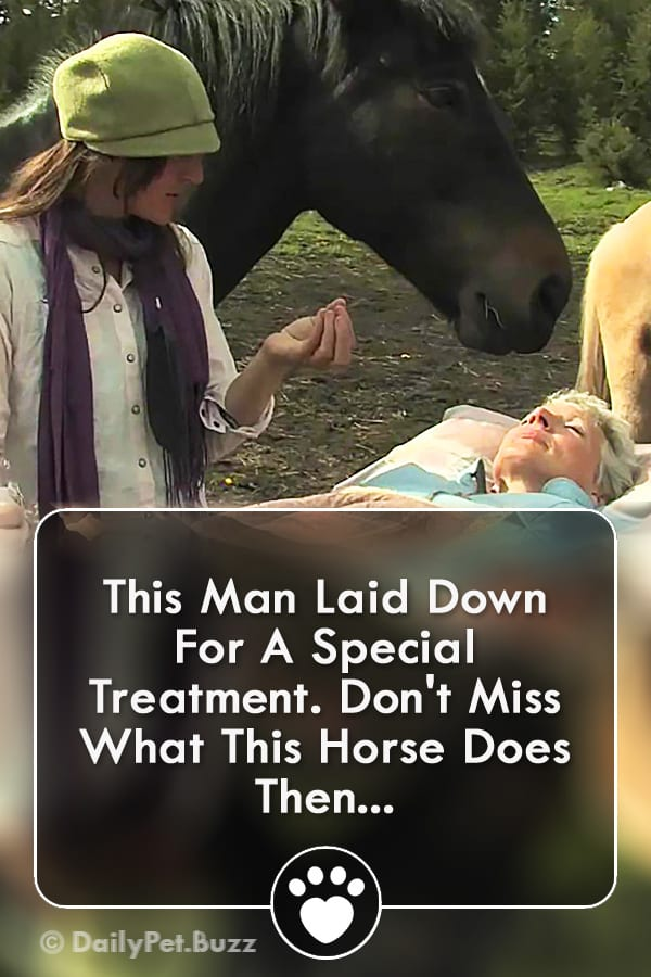 This Man Laid Down For A Special Treatment. Don\'t Miss What This Horse Does Then...