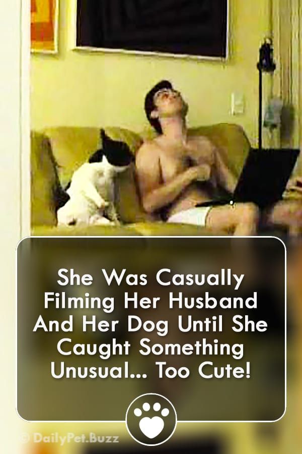 She Was Casually Filming Her Husband And Her Dog Until She Caught Something Unusual... Too Cute!